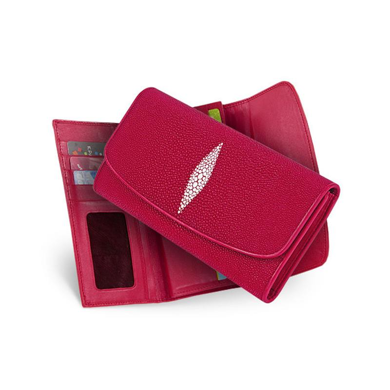 6b1d14a25d31 Женский кошелек из кожи ската, цвет: красный [Артикул: WT-127]